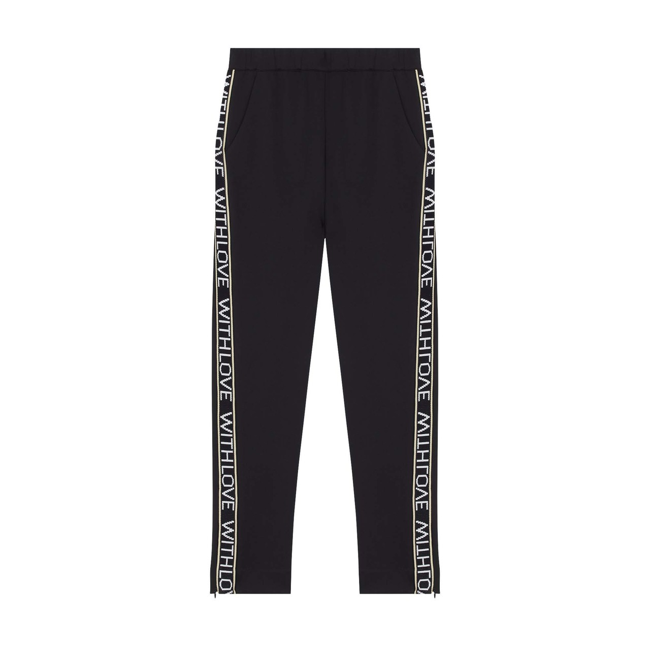 Jogging Pants With Elastic Waist - Black