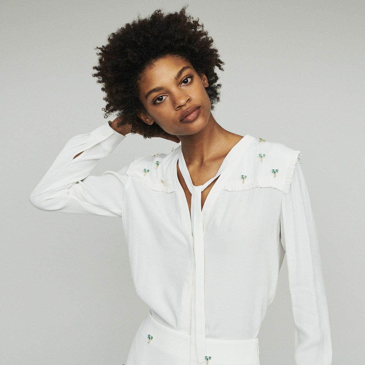 Crepe Blouse With Palm Jewels - Ecru