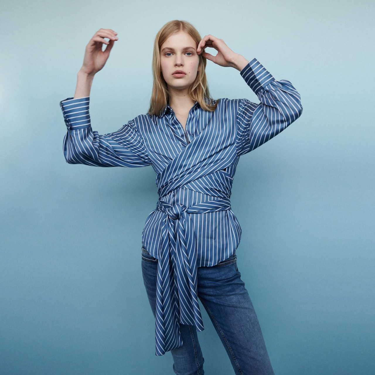 Wrap Blouse With Stripes  - Stripe