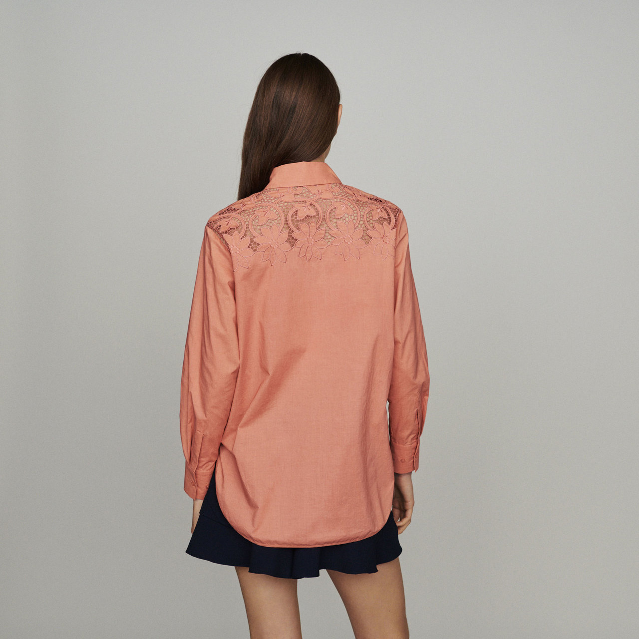 Guipure Top - Coral