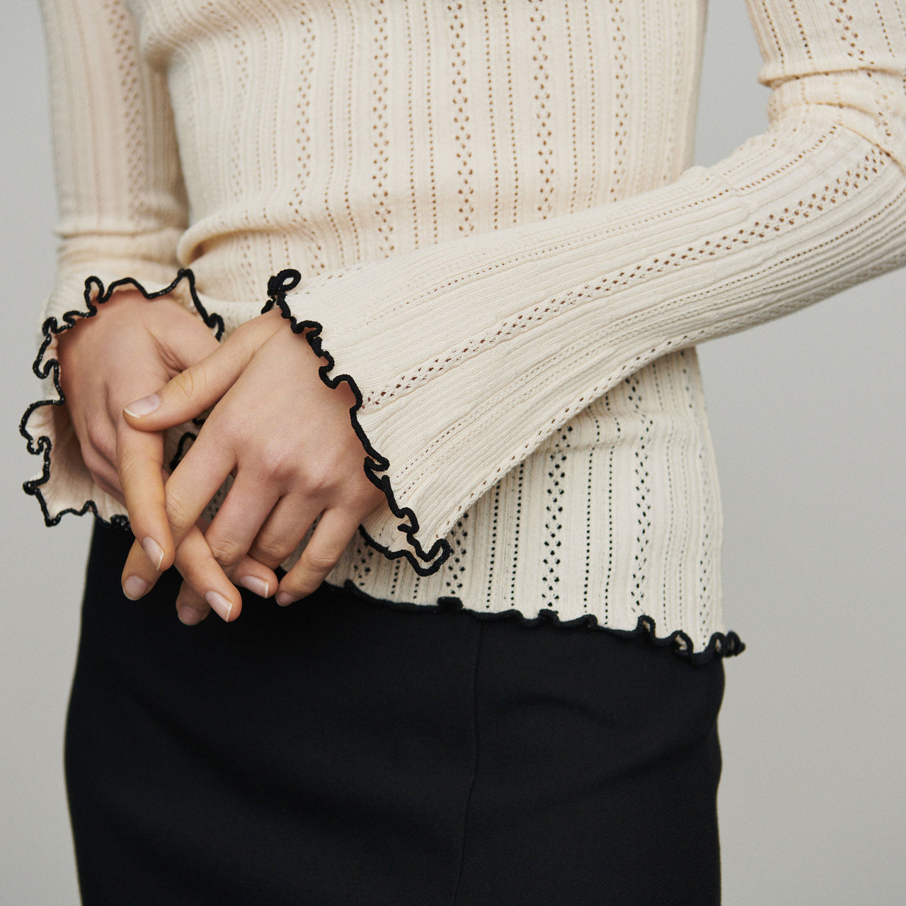 Sweater With Pointelle Knit - Egg Shell