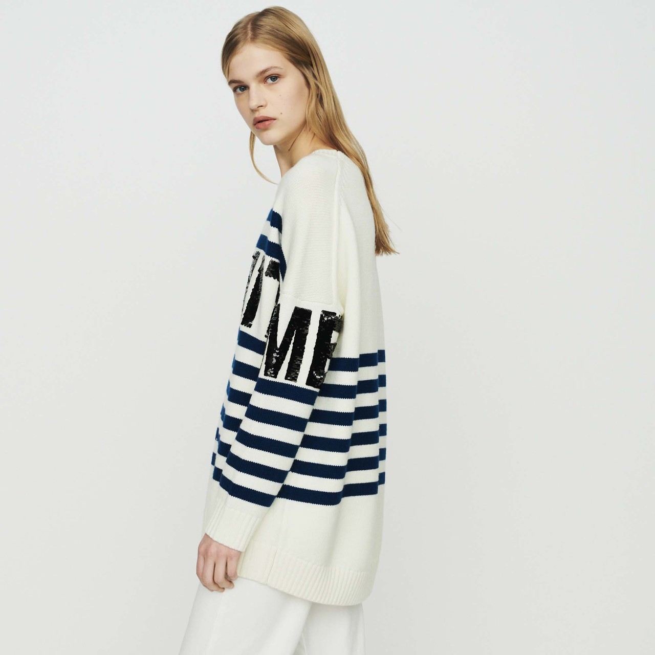 Sailor Striped Sweater In Wool Blend - Ecru