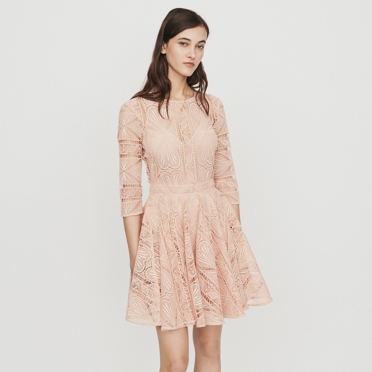 Short Dress In Guipure - Rose