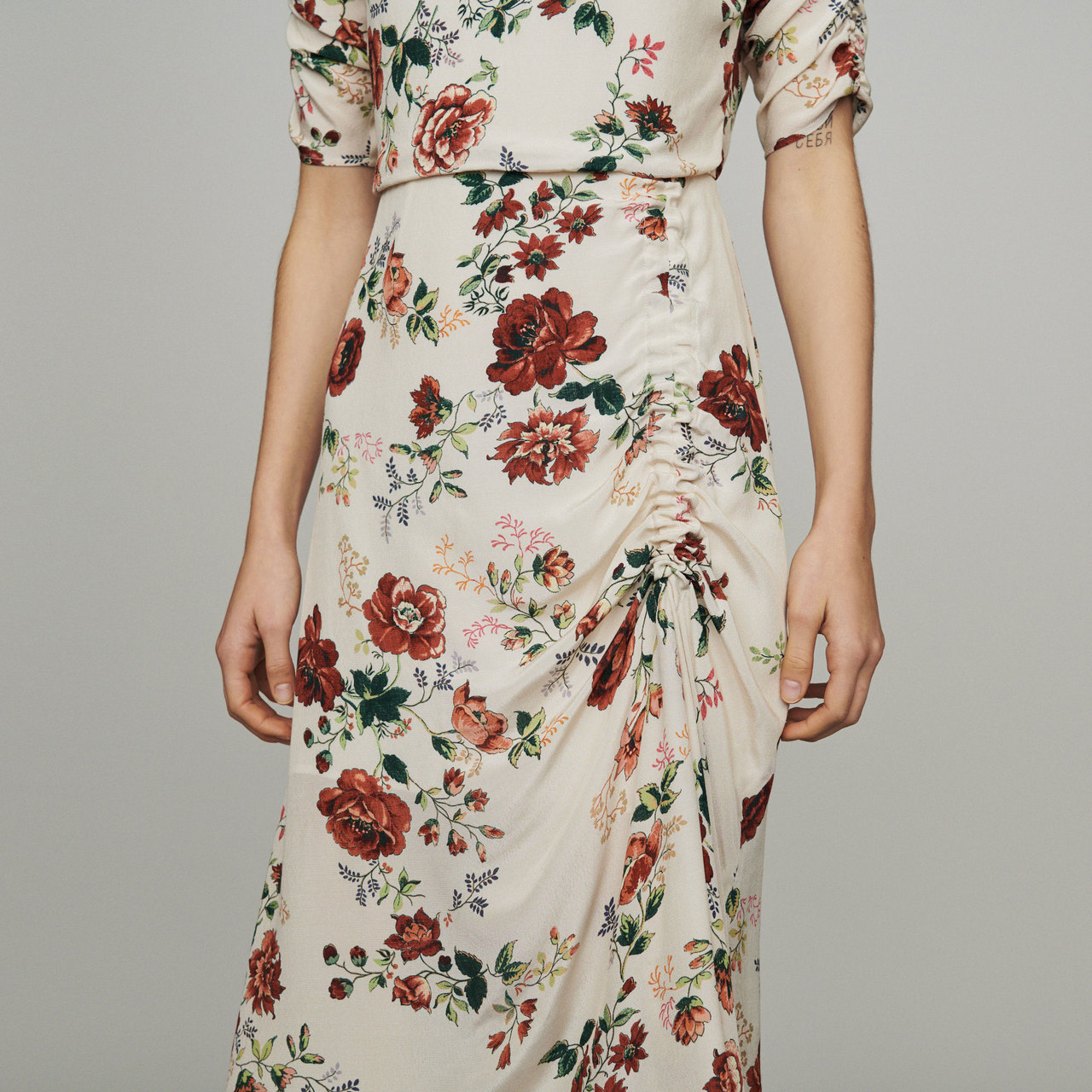 Long Dress With Floral Print - Print