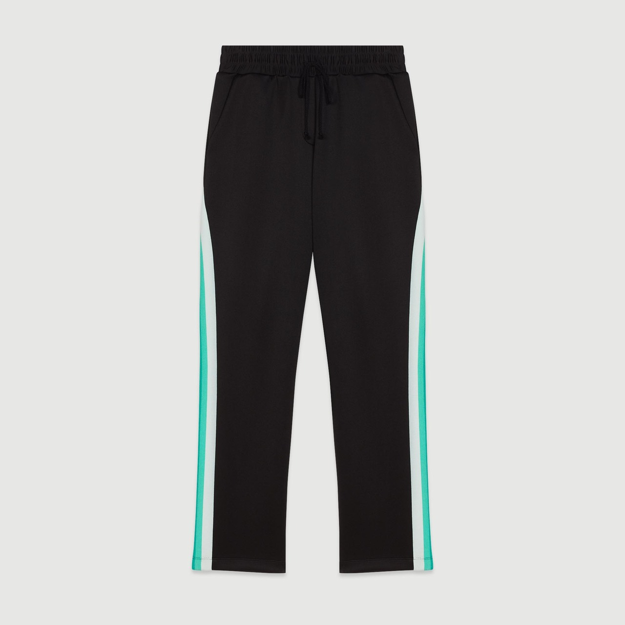 Sport Pants With Contrasting Side Bands - Black