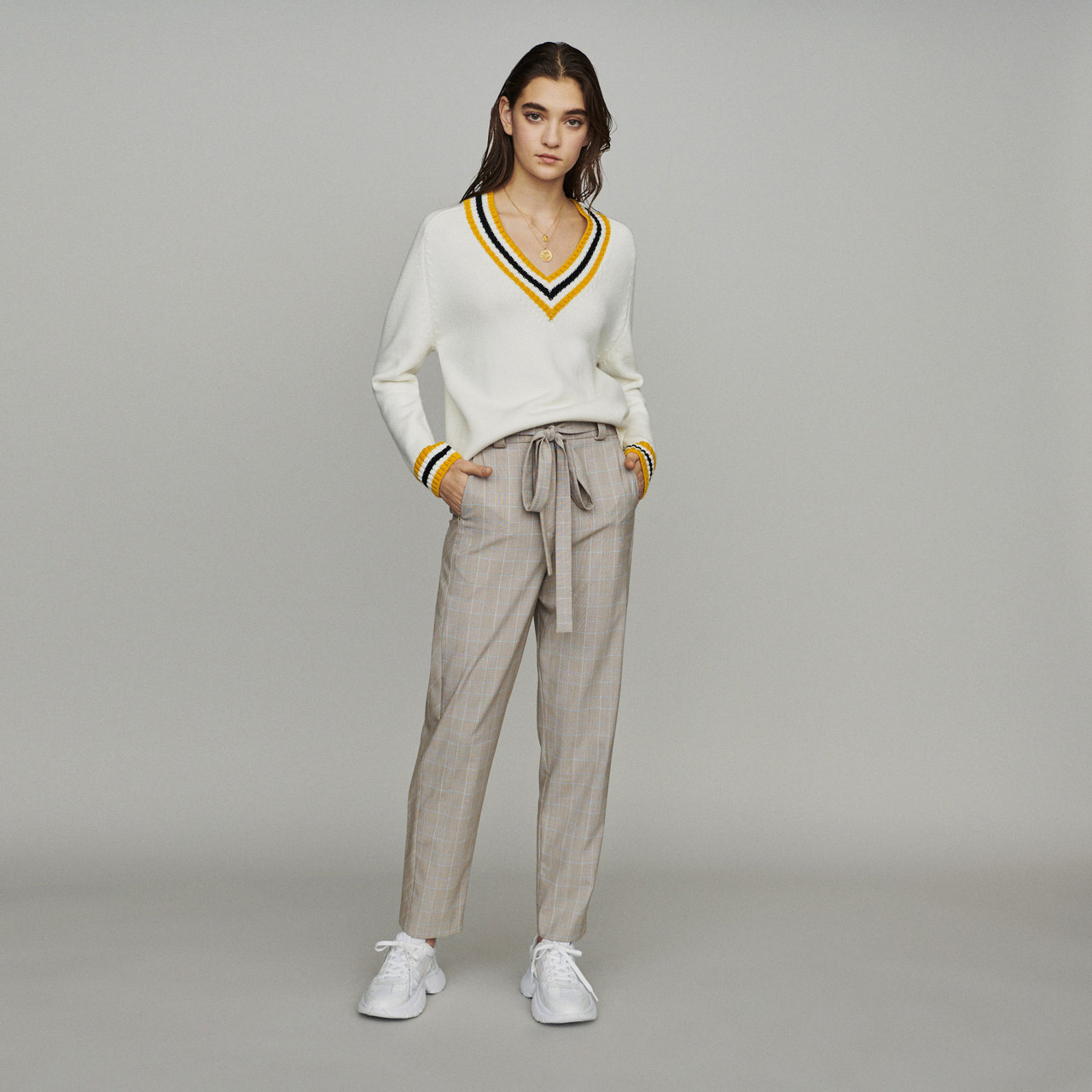 Sweater With Contrasted Bands - Ecru