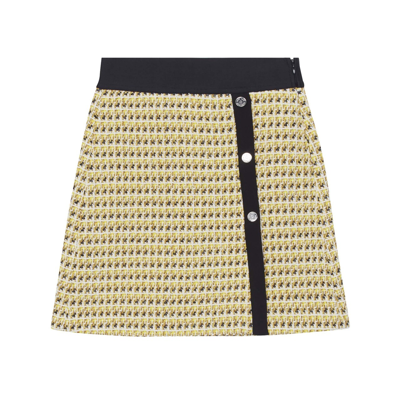 Short Skirt In Tweed And Lurex - Yellow