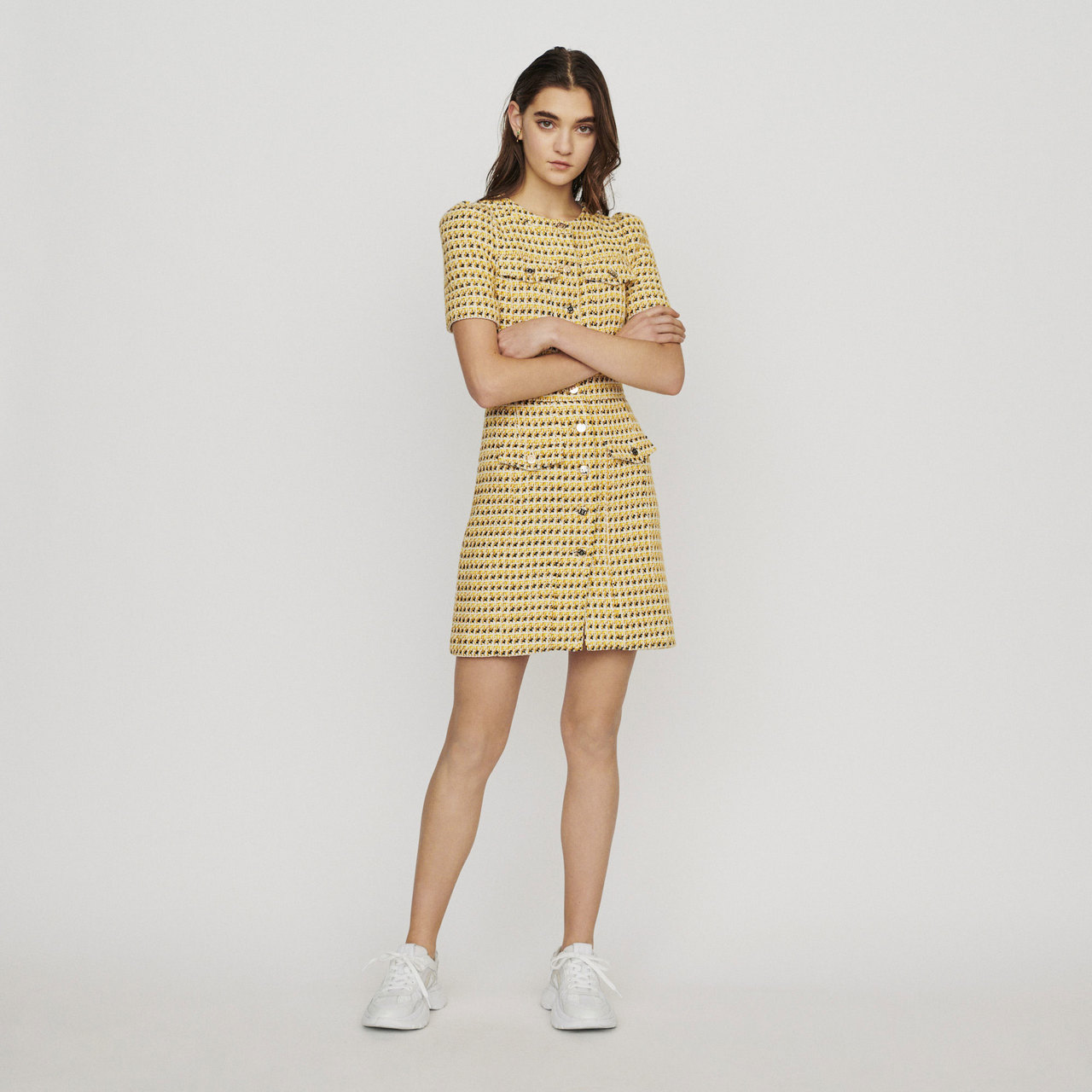 Short Dress In Tweed And Lurex - Yellow