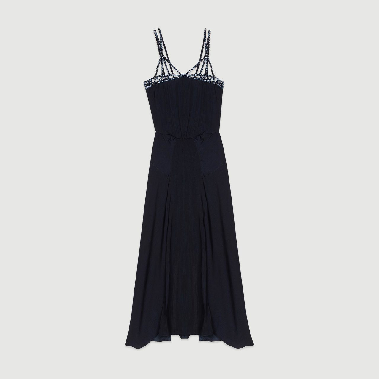 Midi Dress With Rhinestones - Navy