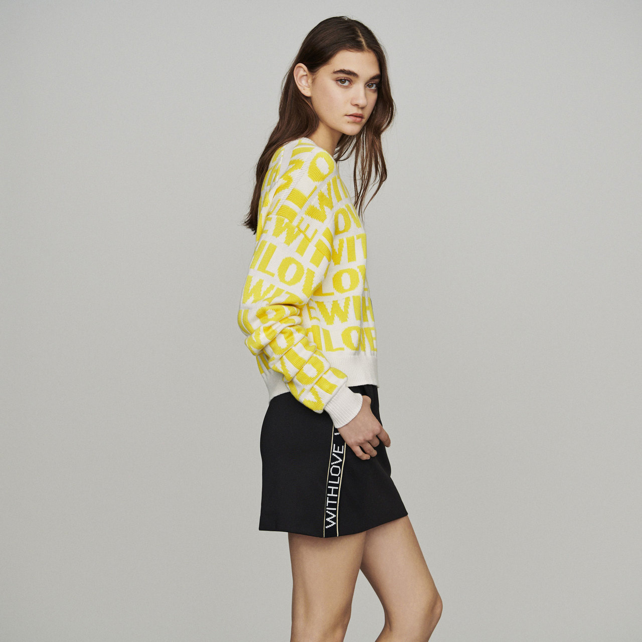 Jacquard Sweater With Slogan - Yellow