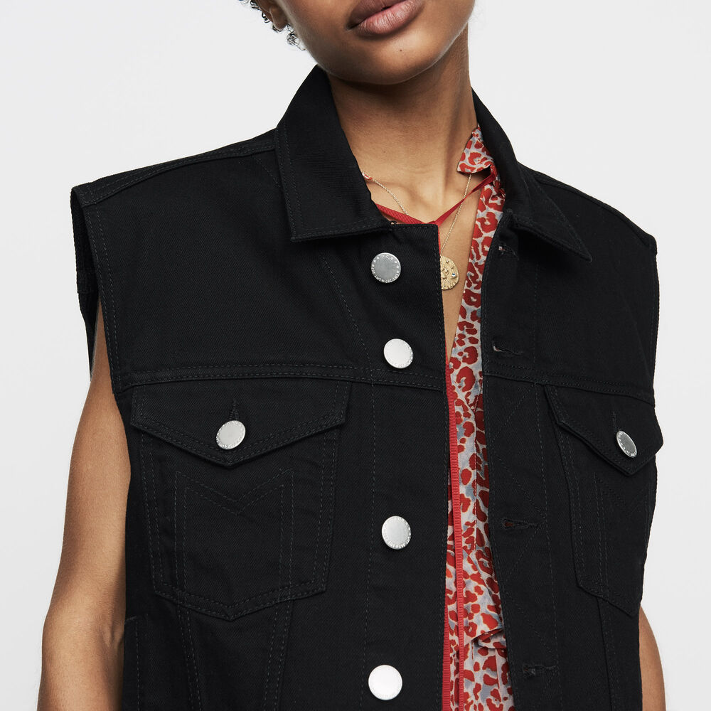 Denim Vest - Black