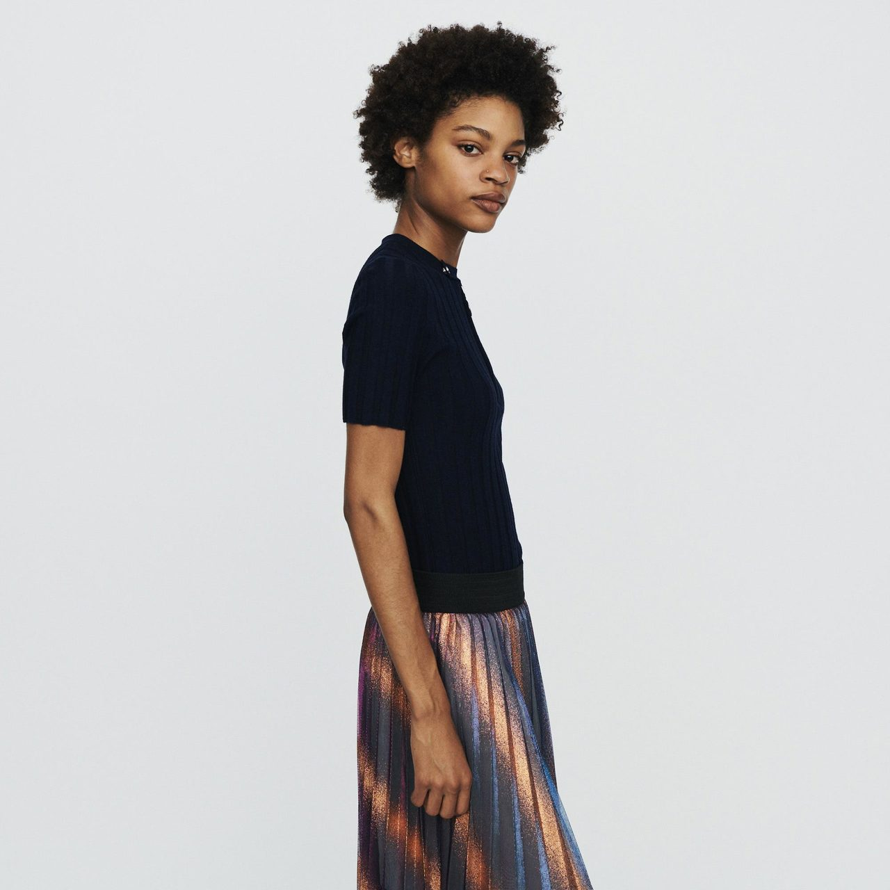 Short-Sleeve Sweater With Tube Knit - Navy