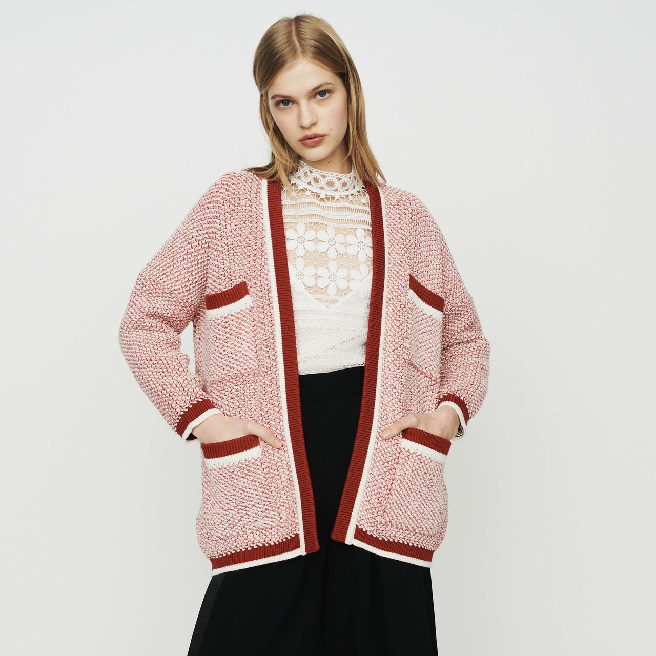 Mid-Length Cardigan In Bicolor Wool - Red