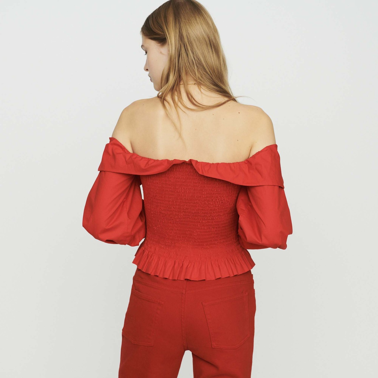 Smocked Cold-Shoulder Top - Red