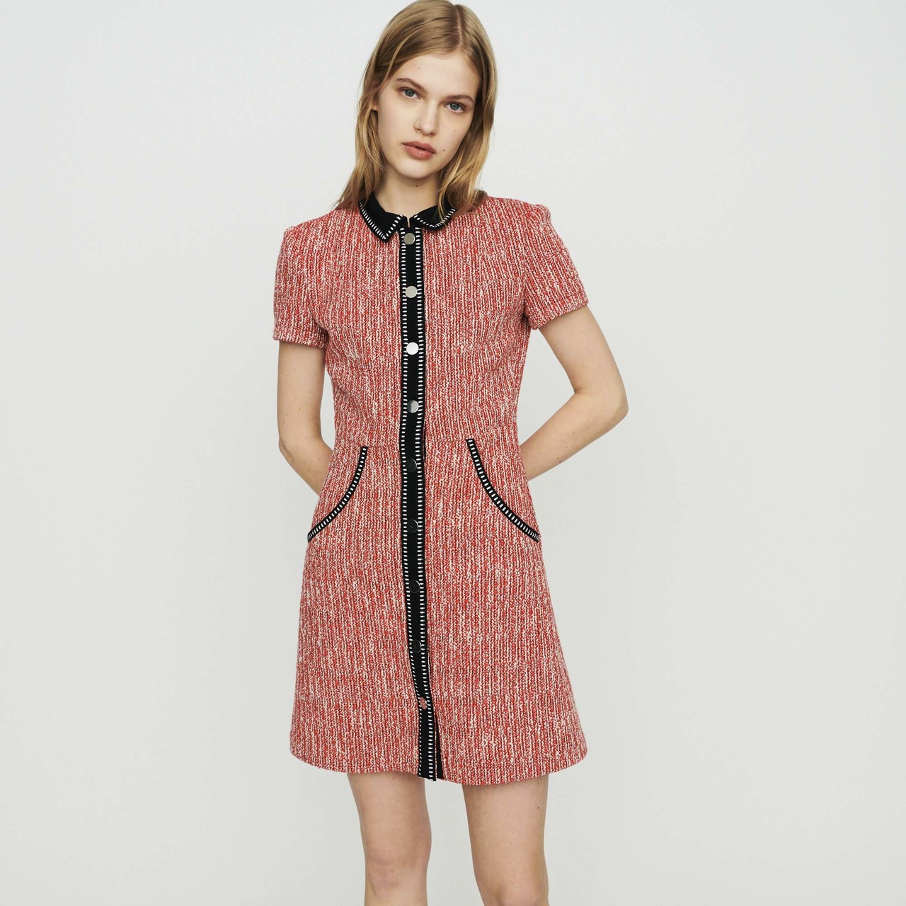 Tweed-Style Dress - Red