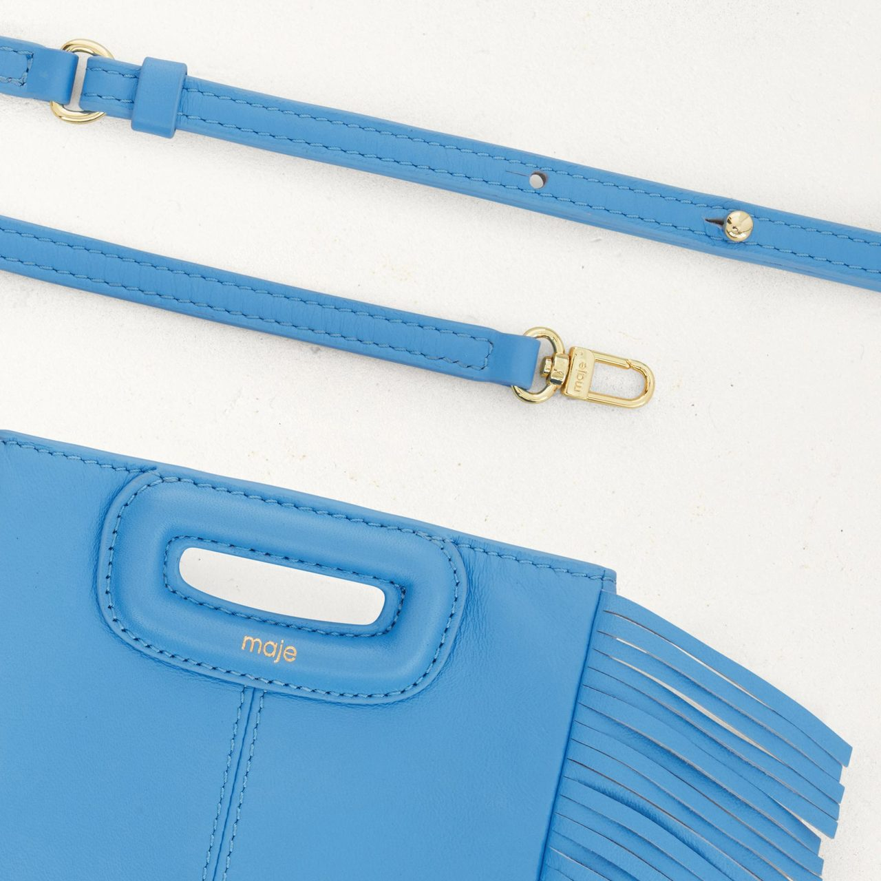 M Mini-Bag With Leather Fringes - Blue