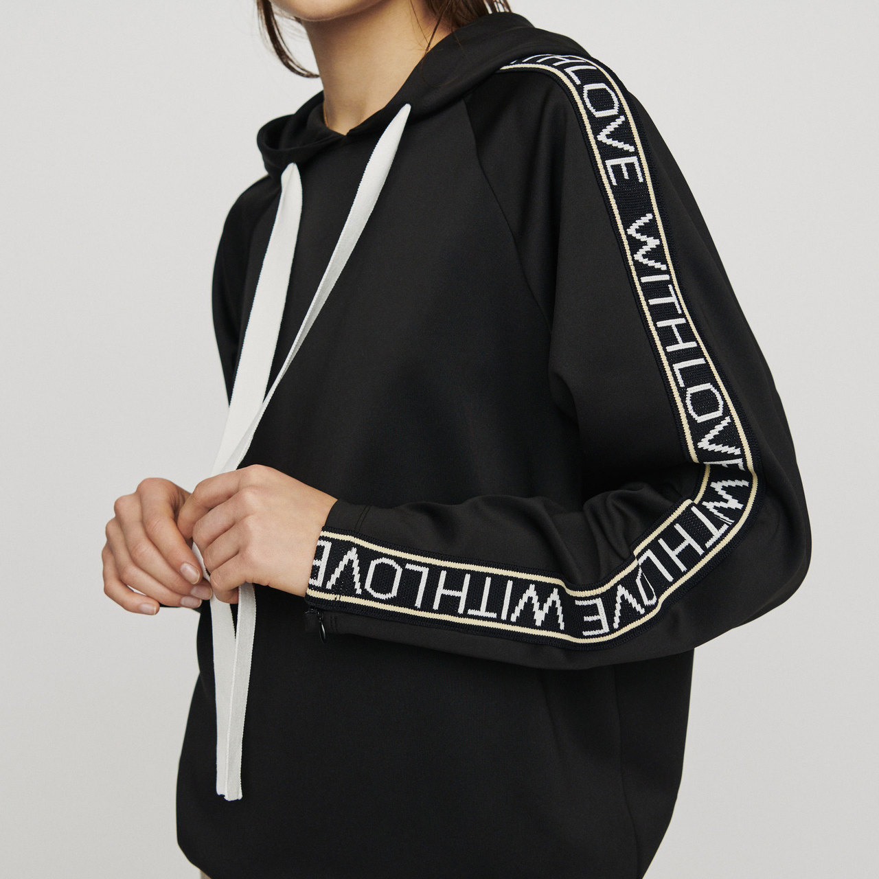 Hooded Sweat-Shirt With Slogan Band - Black