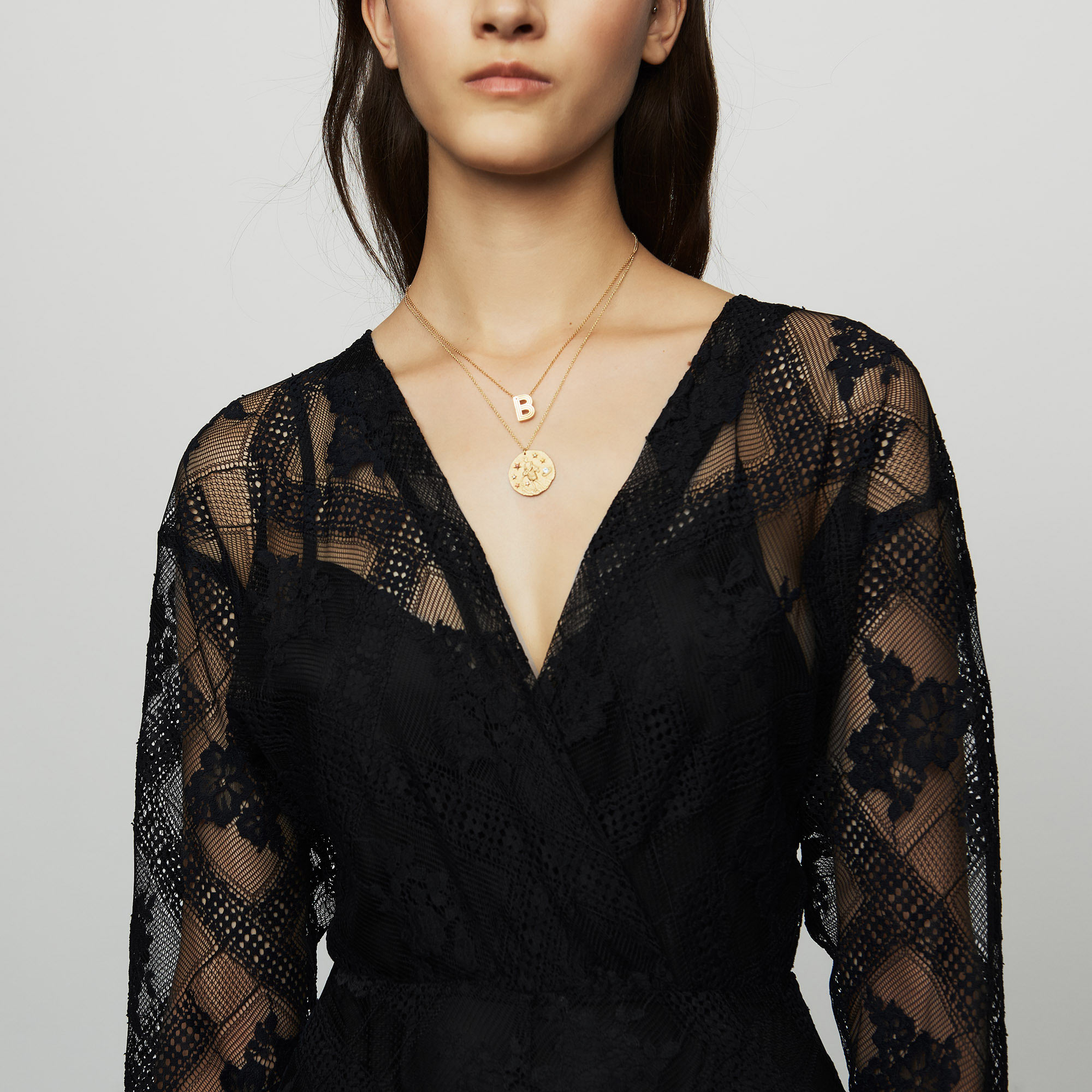 Long-sleeved scarf dress in lace - Black