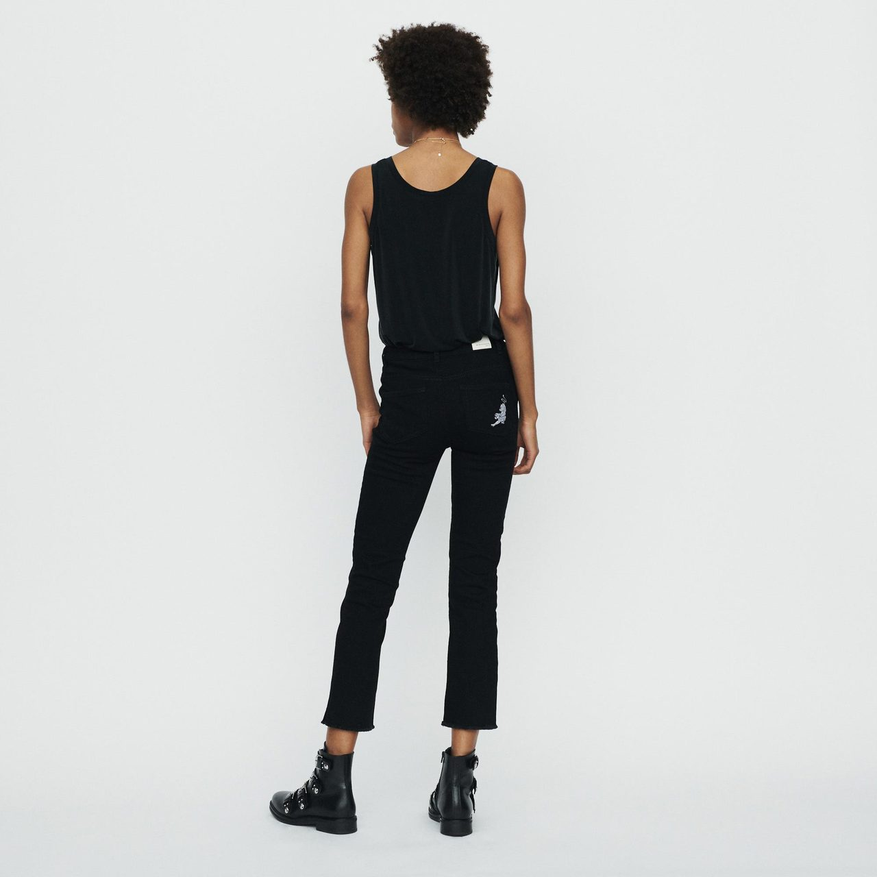 Straight Jeans With Fringe And Embroidery - Black