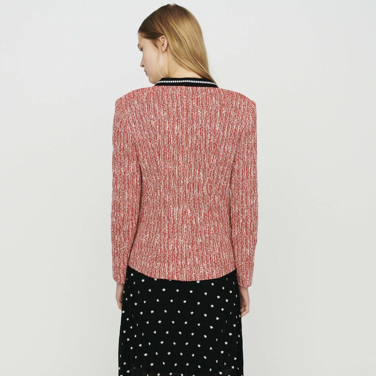 Tweed-Style Jacket - Red