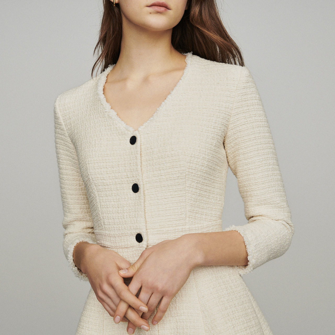 Tweed-Style Trapeze Dress - Ecru