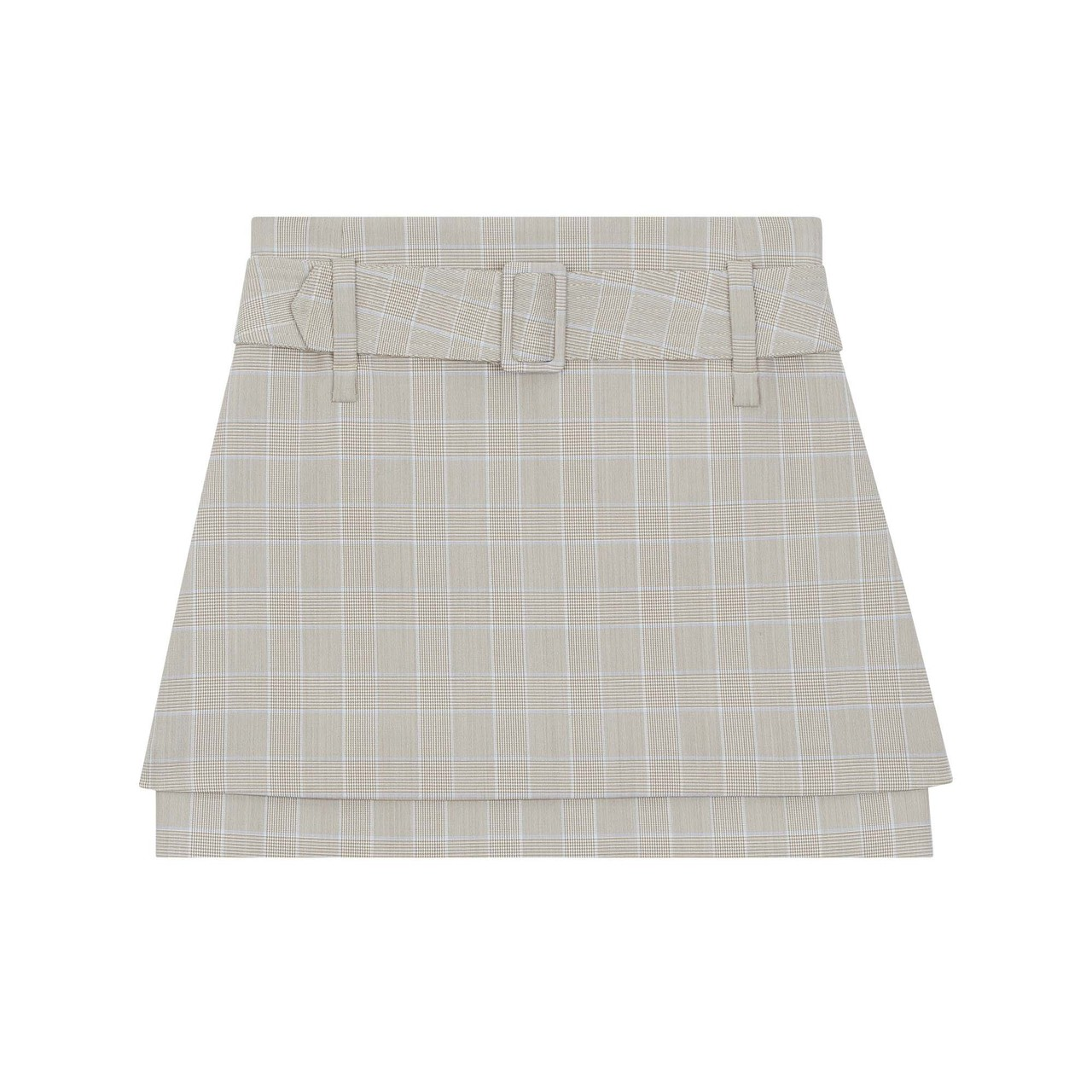 Belted Checked Short Skirt - Check