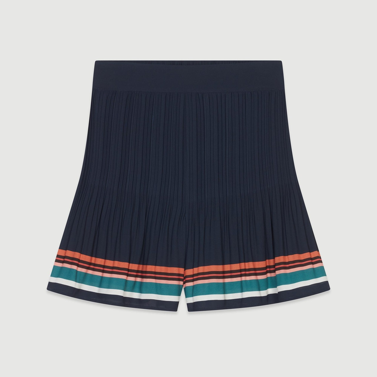 Pleated Shorts With Stripes - Navy