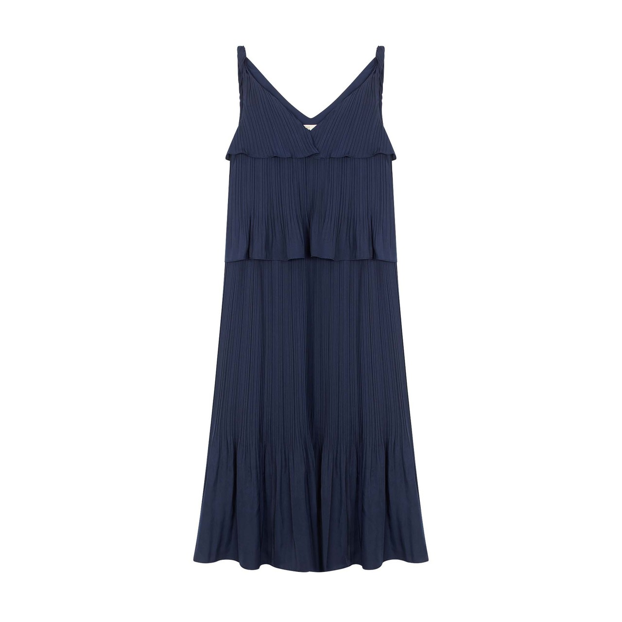Long Satin Pleated Dress - Navy