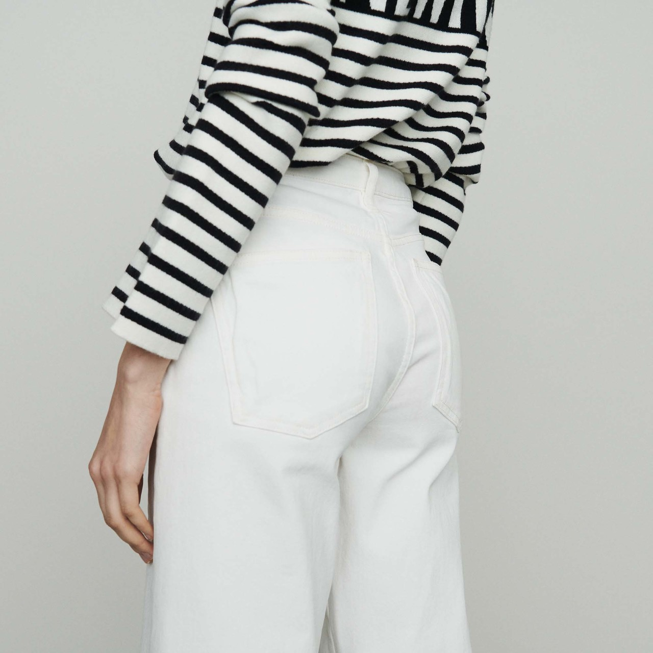 High-Waisted Wide Leg Jeans - White