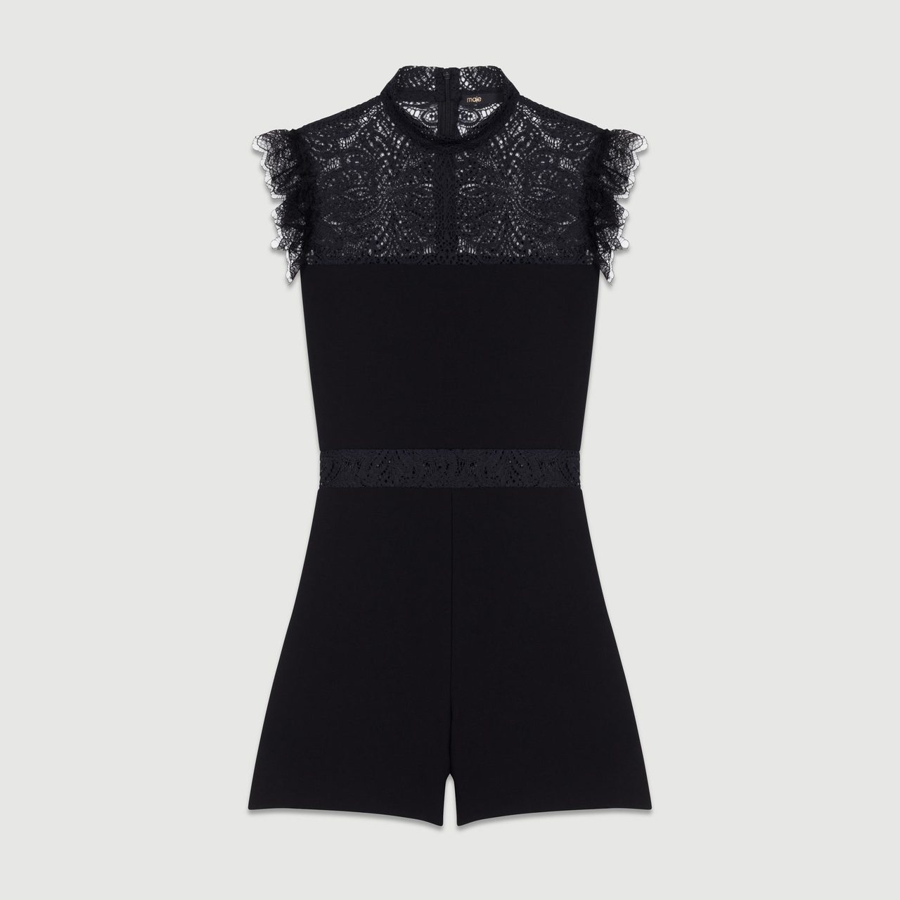 Romper With Lace - Black