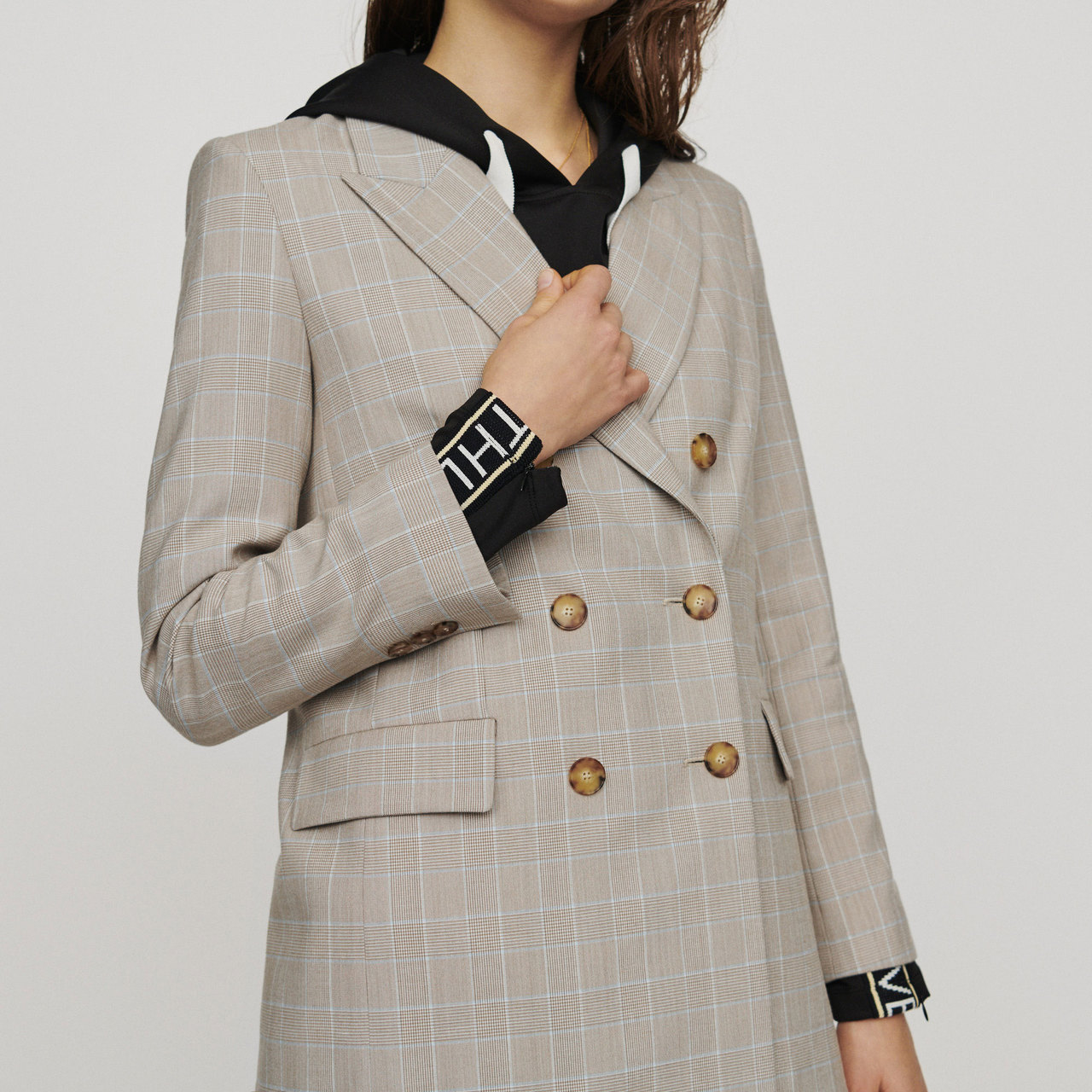 Double-Breasted Checked Blazer - Check