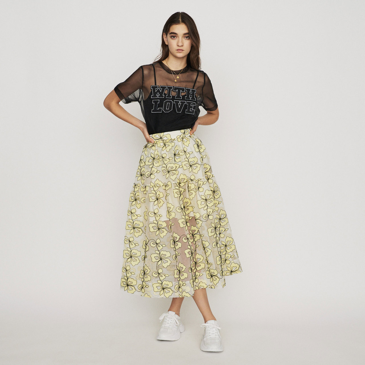 Organza Skirt With Flowers - Yellow