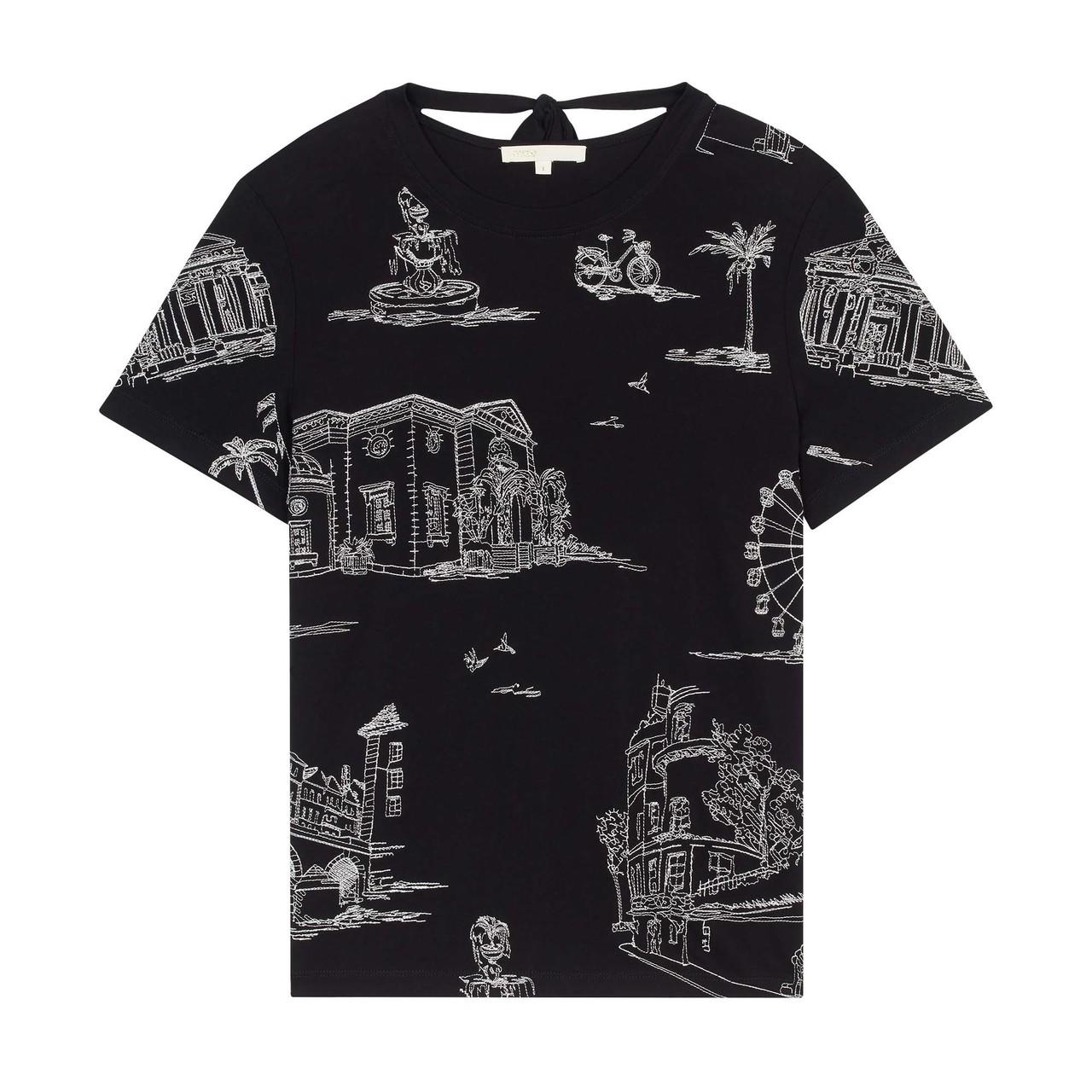 T-Shirt With Paris Embroidery - Black