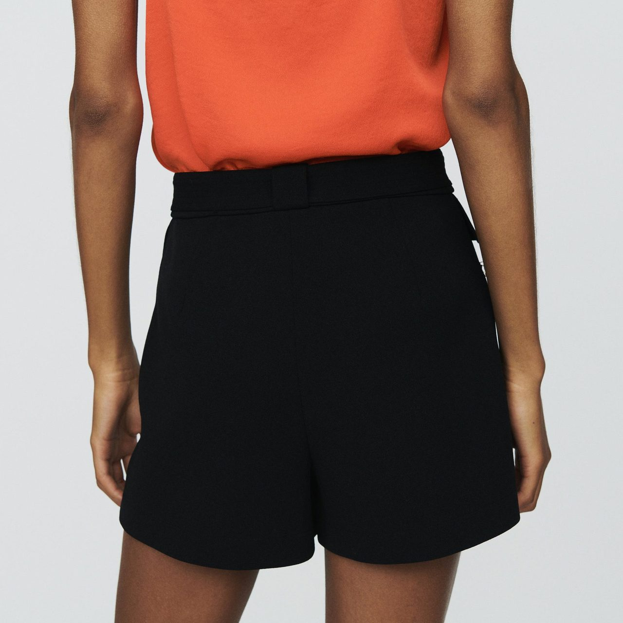 Crepe Shorts With Palm Jewels - Black