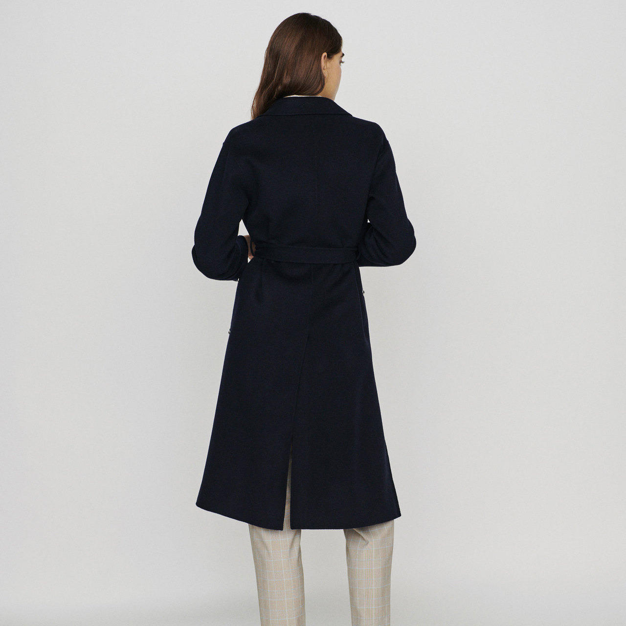 Double-Face Wool Coat With Belt - Navy