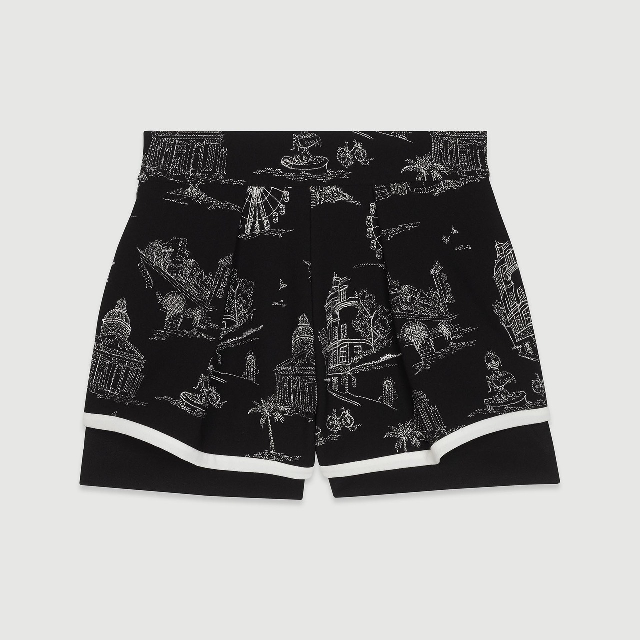 Embroidered Crepe Shorts - Black