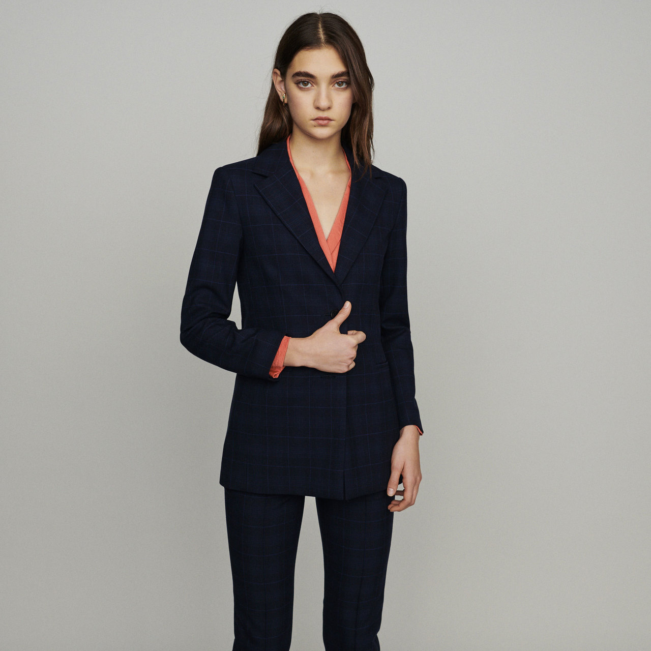 Jacket With Check Print - Navy