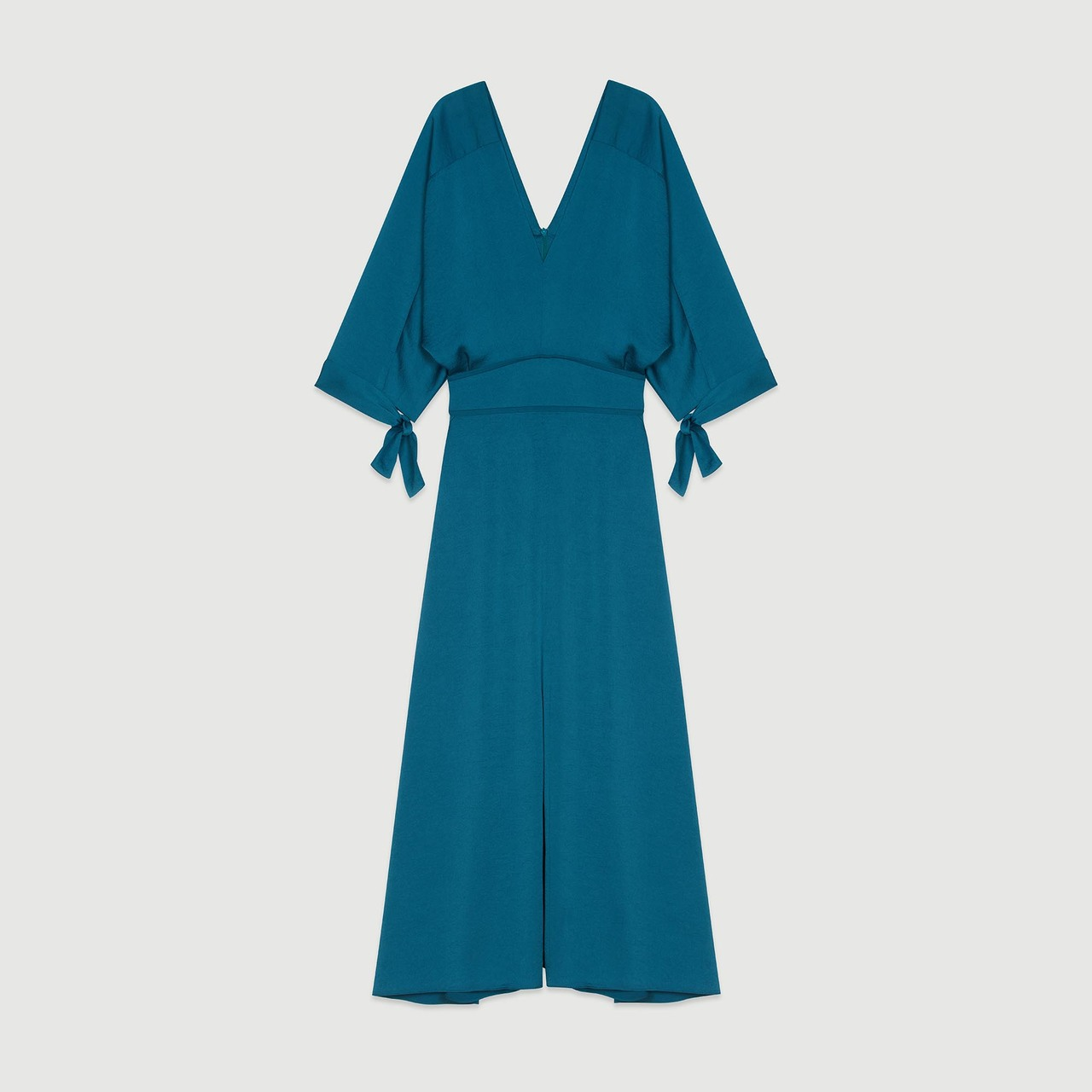 Long Neckline Dress - Blue