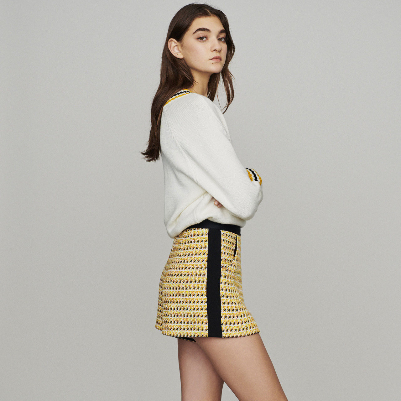 Shorts In Tweed And Lurex - Yellow
