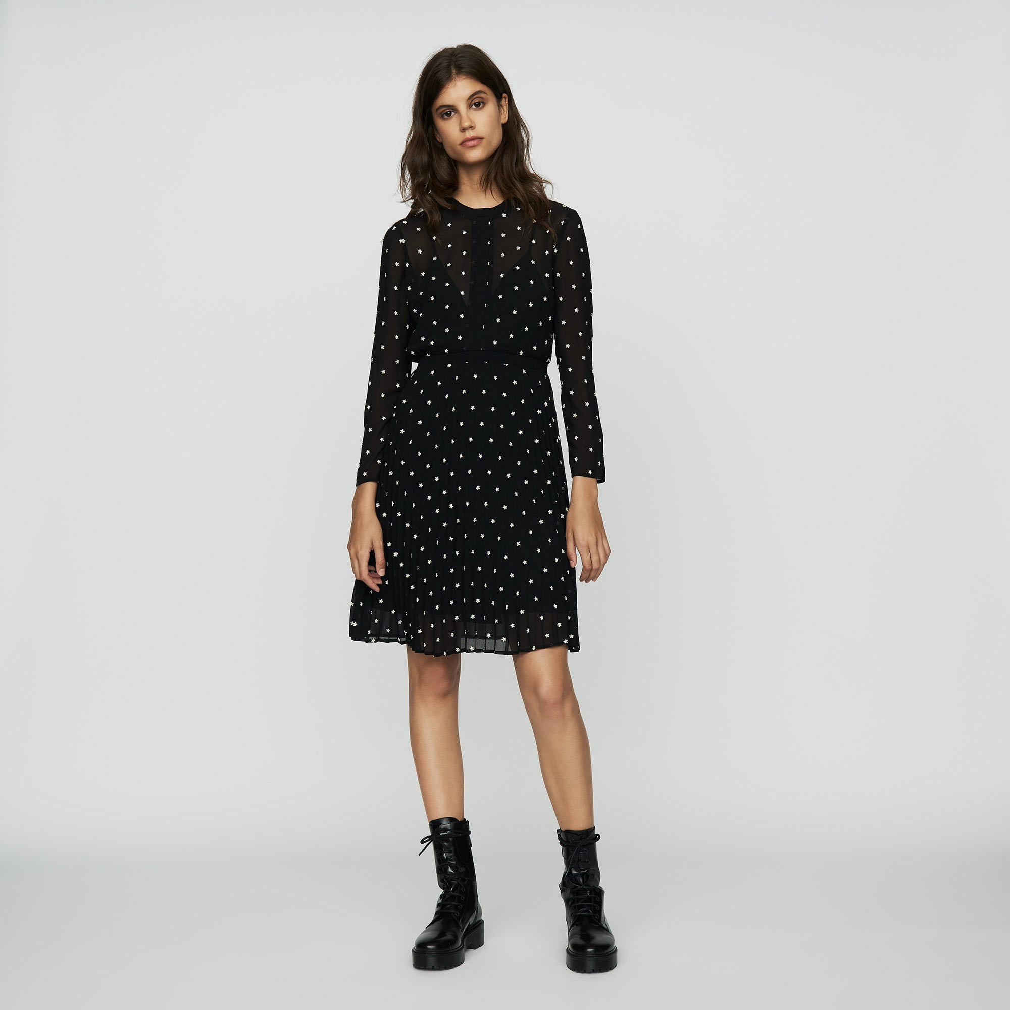 Embroidered pleated dress - Black