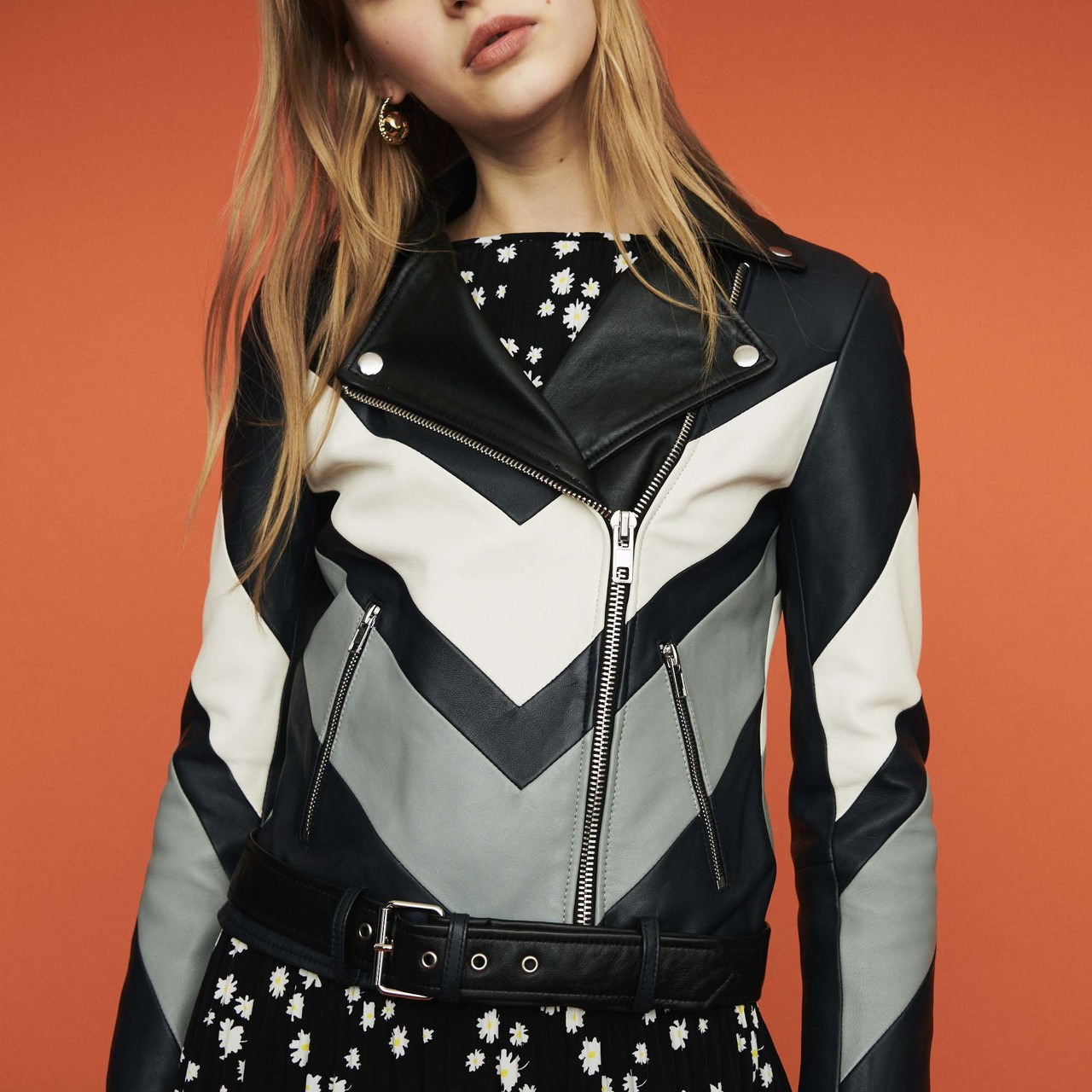 Leather Jacket With Cutouts - Multiclr