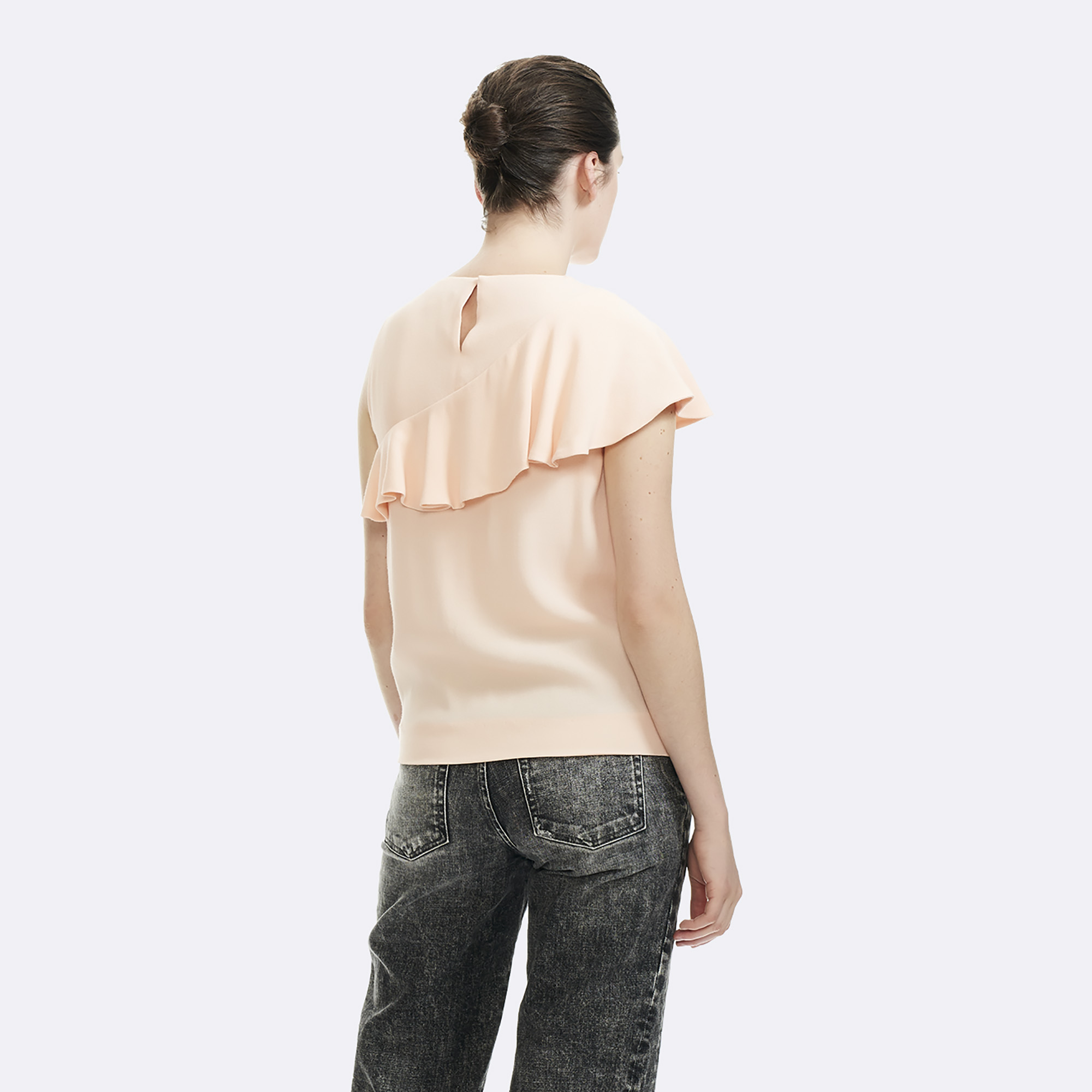 Sleeveless top with ruffle  - Peach