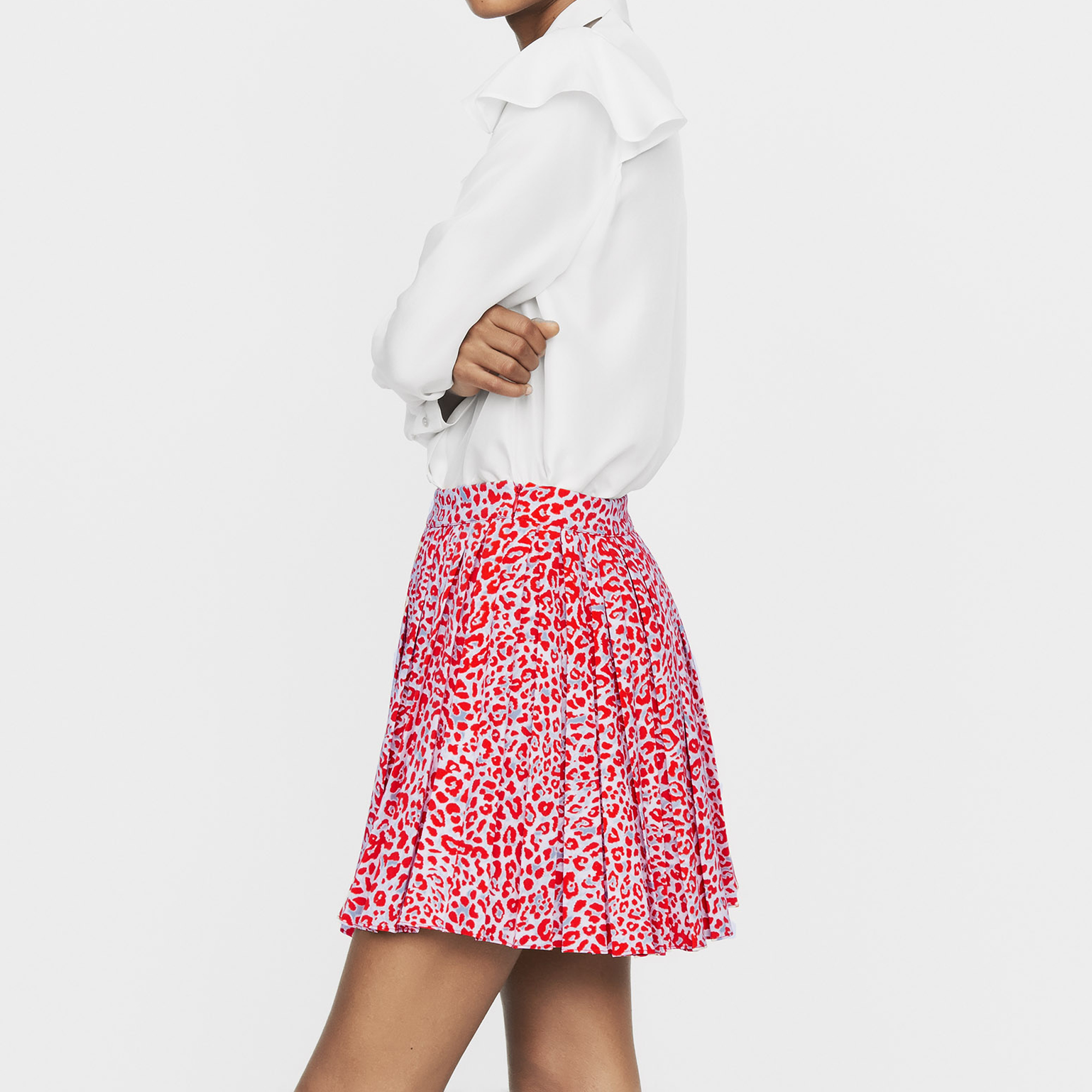 Pleated skirt with leopard print - Print