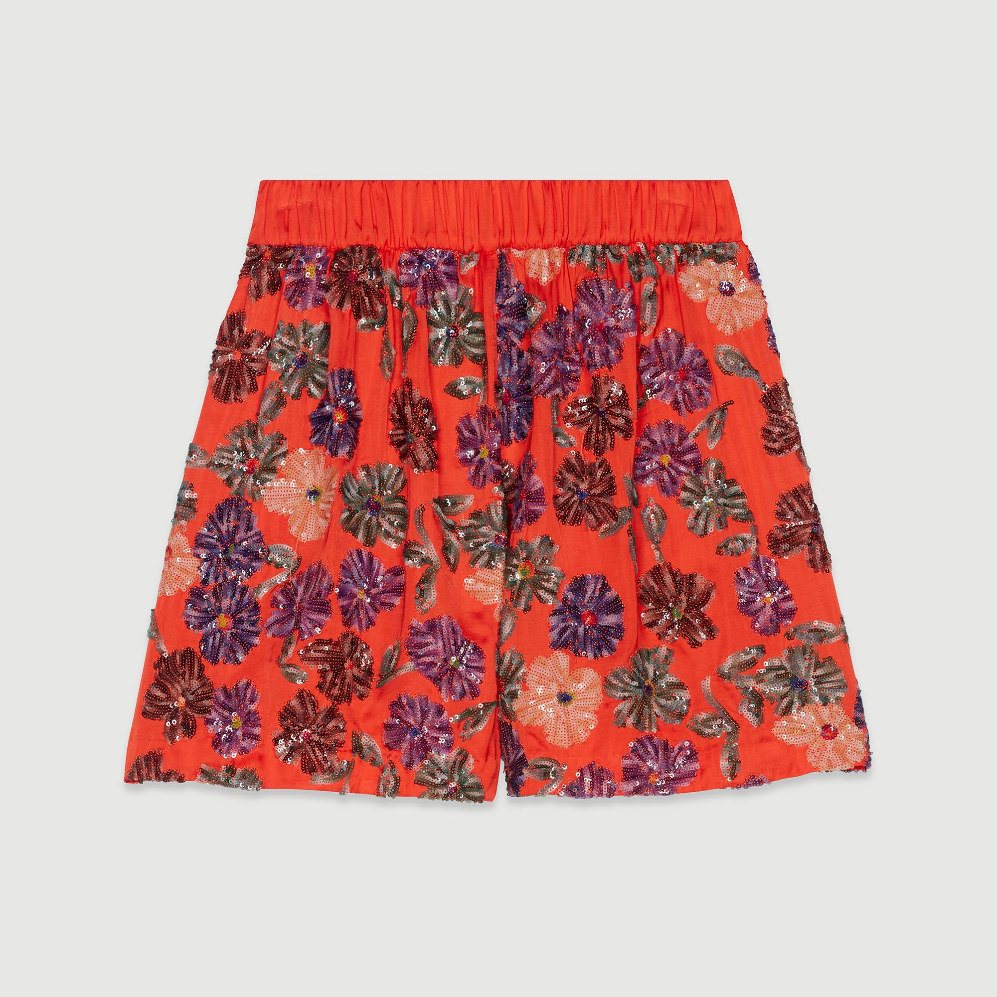 Shorts With Sequin Embroidery - Coral