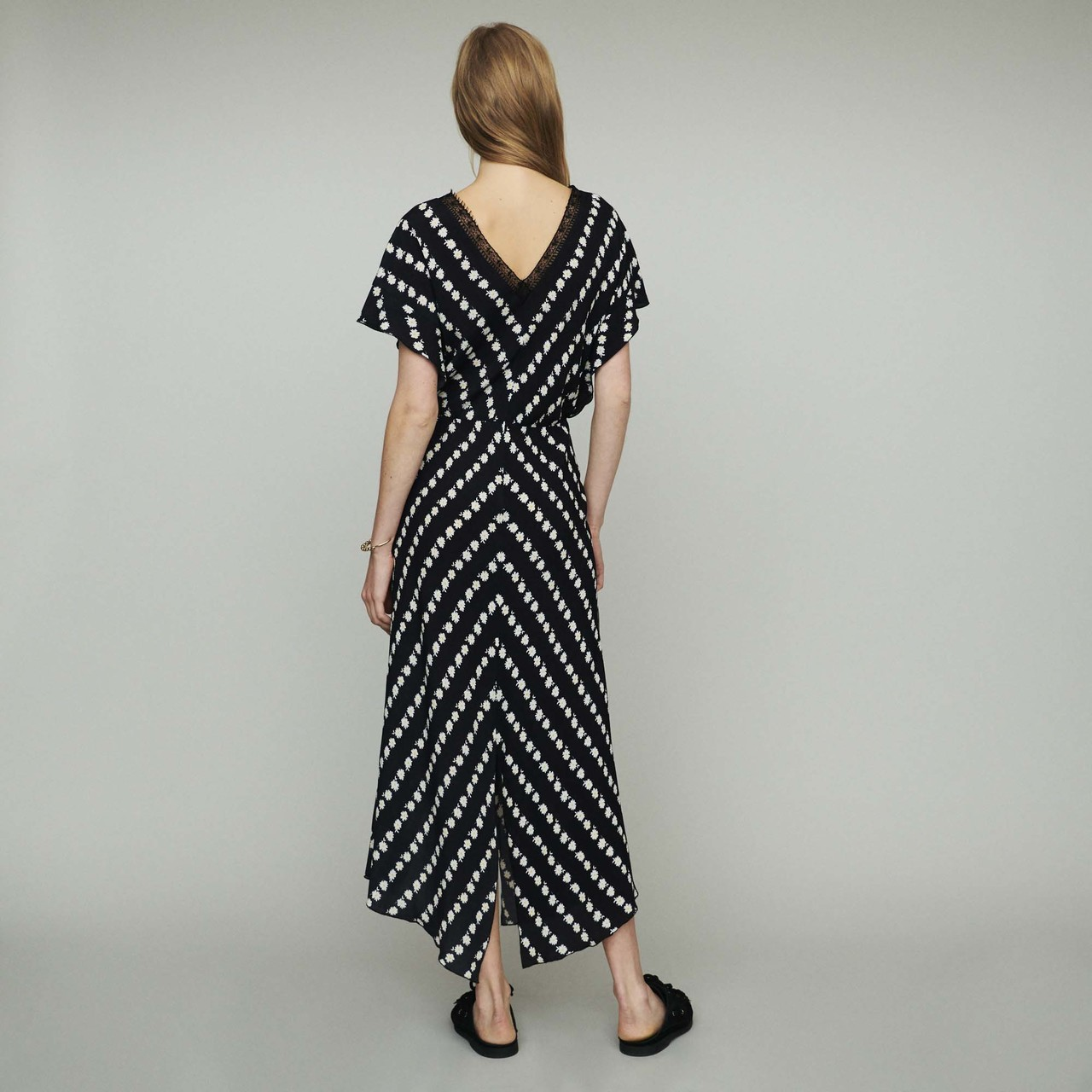Long Dress With Daisy Print - Print