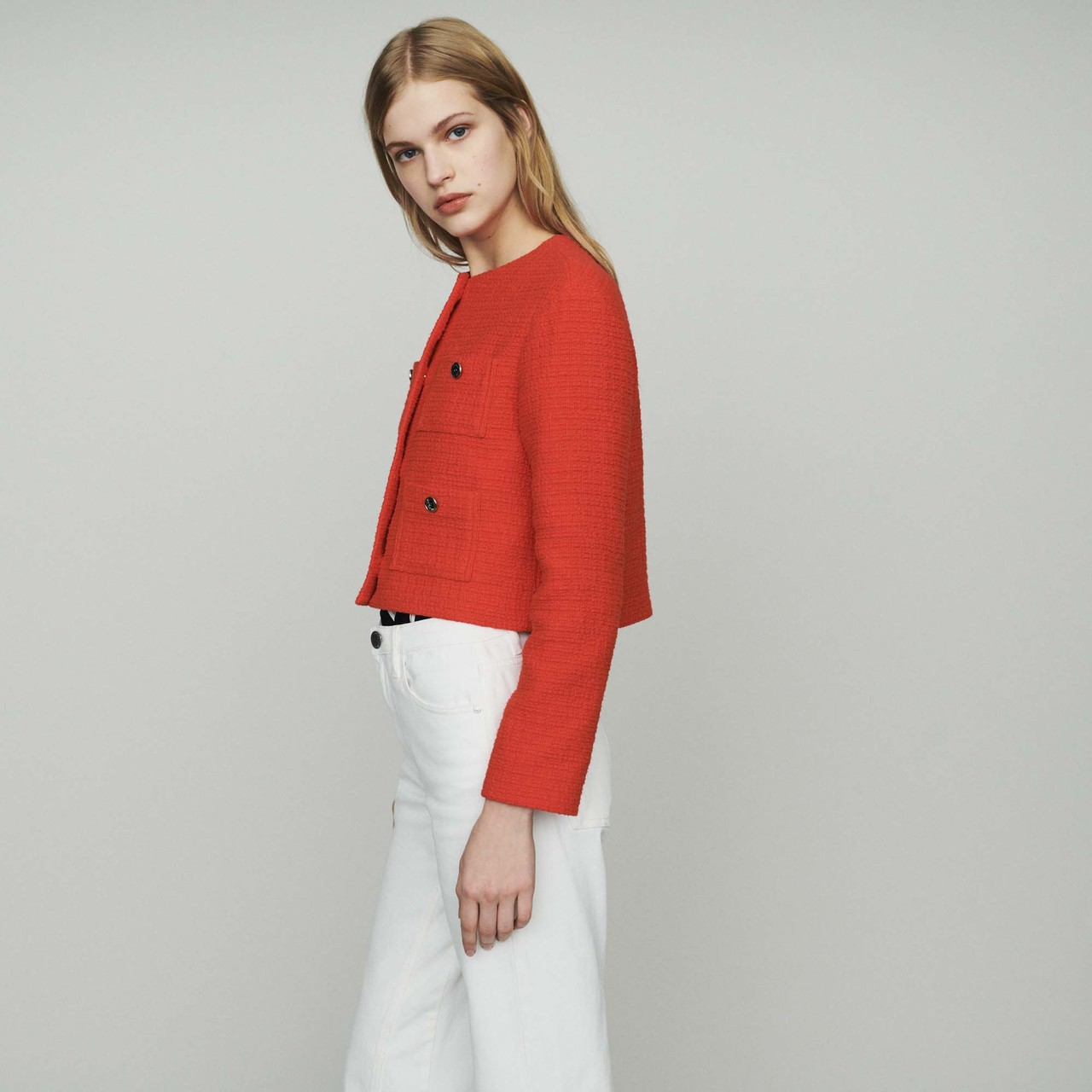 Cropped Tweet Jacket - Red