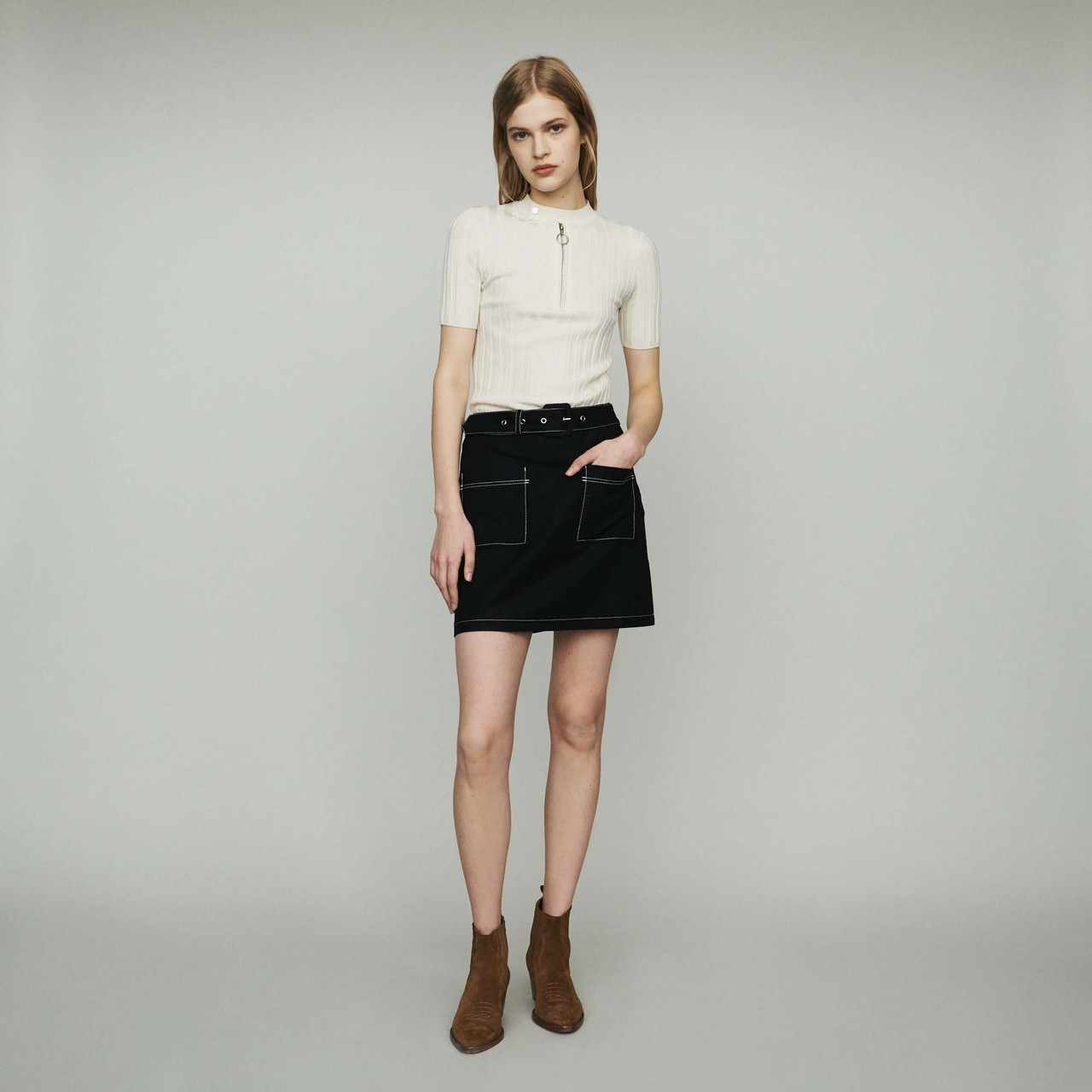 Short-Sleeve Sweater With Tube Knit - Ecru