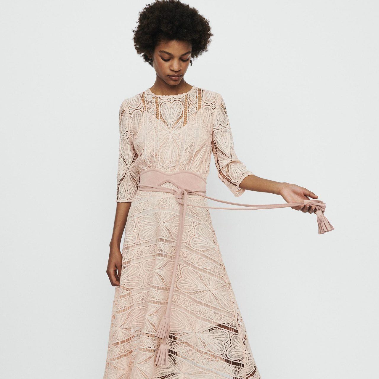 Long dress in guipure - Rose