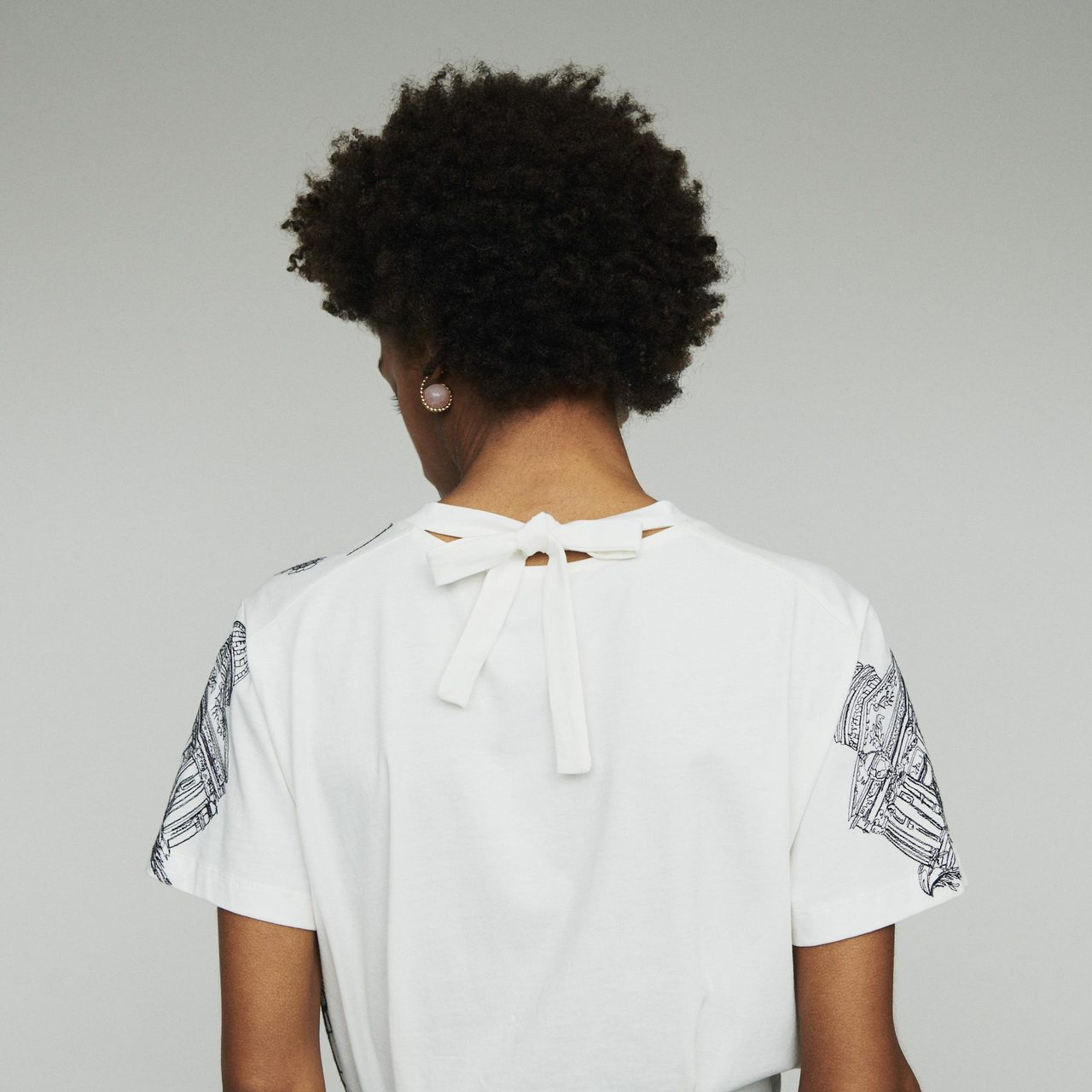 T-Shirt With Paris Embroidery - White