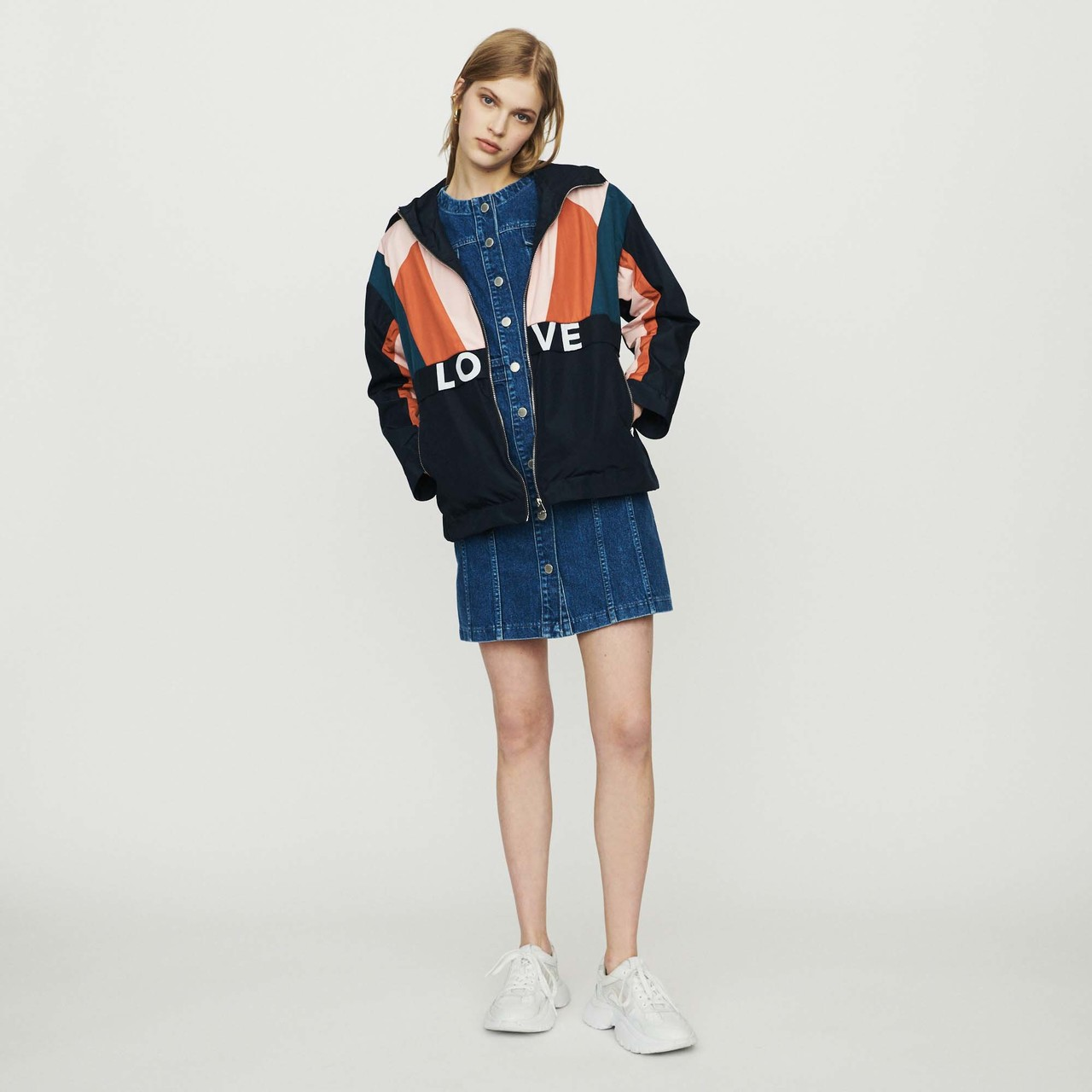 Multicolored Windproof Jacket - Navy